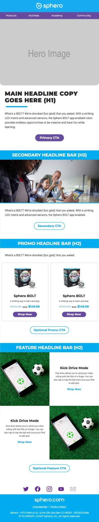 Sphero Mailchimp email template